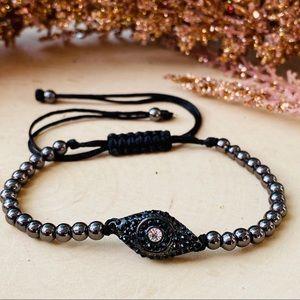 Men's Hematite Adjustable Cord Beaded Bracelet